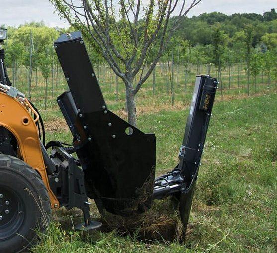 Пересадчик деревьев на мини-погрузчик